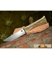 REINDEER KNIFE, sandwich damascus steel with scabbard