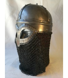 Gjermundbu Helmet with riveted chainmale - combat replica, 2mm hardened
