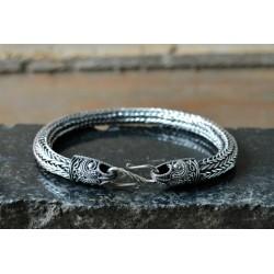 Double weave silver Viking bracelet