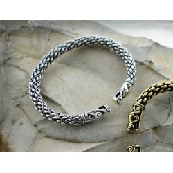 Thick Viking bracelet with large dragon head terminals- silver replica