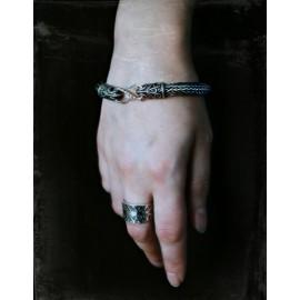 Double weave flexible Viking style bracelet with dragon head terminals - bronze