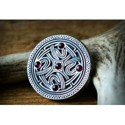 Vendel period brooch replica with genuine garnets - silver.