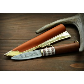 Viking damascus knife with engraved handle