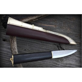 Viking damascus knife with black oak handle and stamped sheath