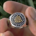 Mens Gold and Silver Color Vegvisir Viking Stainless Steel Biker Rings Futhark Runes Vikings Triangl