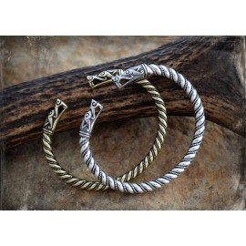 Viking bracelet with wolf head terminals - silver