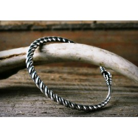Silver Viking bangle bracelet, twisted with filigree wire