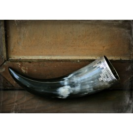 Medium size Viking drinking horn with silver fittings