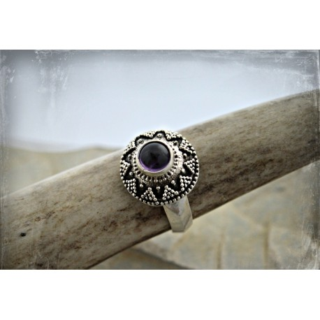 Genuine gemstone and granulation ring, replica of Moravian find - in few colours