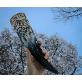 Huginn and Muninn, vendel drinking horn