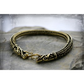 Double weave flexible Viking style bracelet with dragon head terminals and a clasp