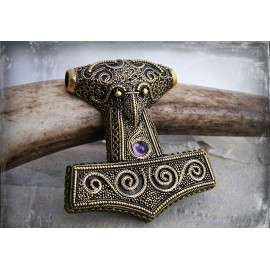 Bronze Viking Thor's Hammer pendant replica with granulation and natural gemstones in three colours