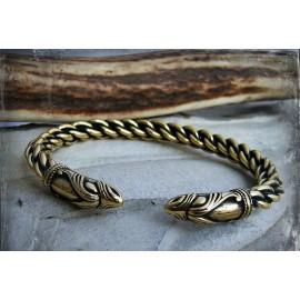 Bronze Viking bracelet with raven head terminals