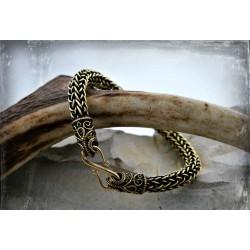 Single weave flexible, bronze Viking style bracelet with filigree ravens terminals