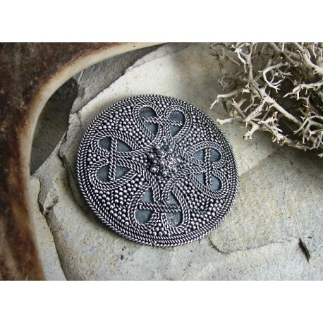 Round small Viking brooch with granulation and filigree, replica from Birka BRONZE