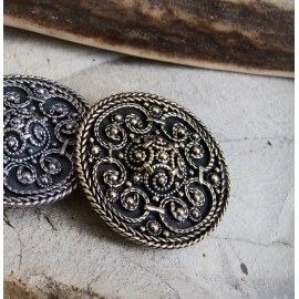 Medium size round Viking filigree brooch replica, Sweden BRONZE