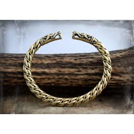 Bronze wolf head Viking bracelet [fili twist]