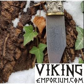 Forged knife - seax, Damascus steel