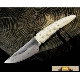 JOKUL, hand forged knife, carved antler