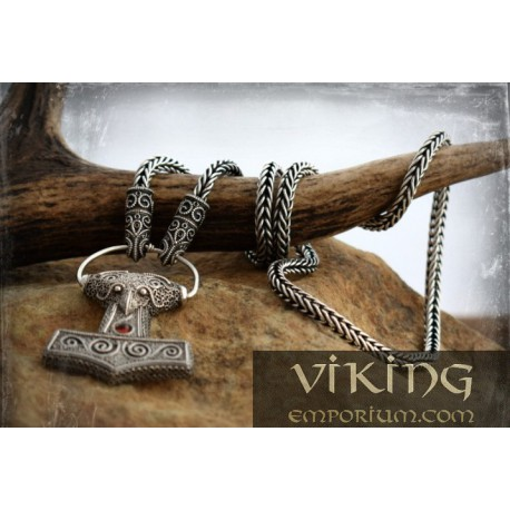 Solid silver Viking necklace with filigree raven heads