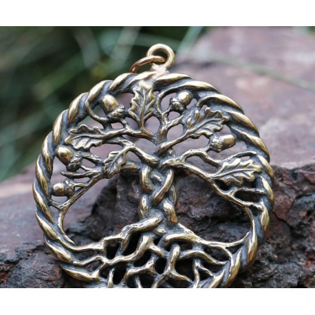 OAK sacred Tree of Life Pendant Bronze