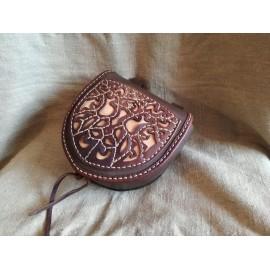 Viking/ Slav belt bag from Novgorod - dark brown