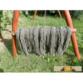 Natural woolen yarn.