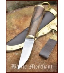 Viking Knife with walnut hilt & leather scabbard, approx. 21 cm